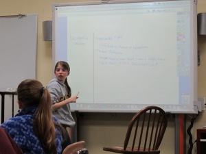 One of my 5th graders facilitating a discussion.